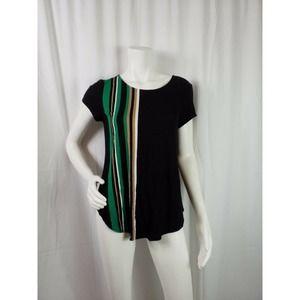 Alfani Top Pullover Stretch Round Neck Striped